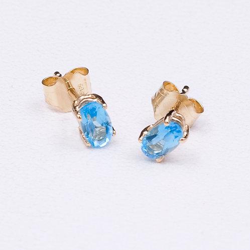 14KT Yellow Gold Topaz Earrings GD-0238