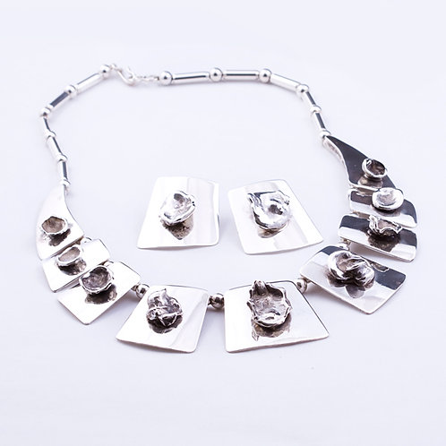 Sterling CD Nugget Necklace/ Earrings
