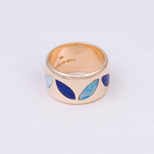 CD 14k Lapis/Opal Inlay Petal Ring GD-0052