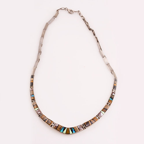 Sterling Multi Inlay Necklace CC-0201