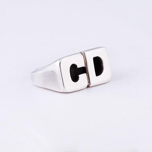 Carlos Diaz Sterling Initial Ring RG-0206