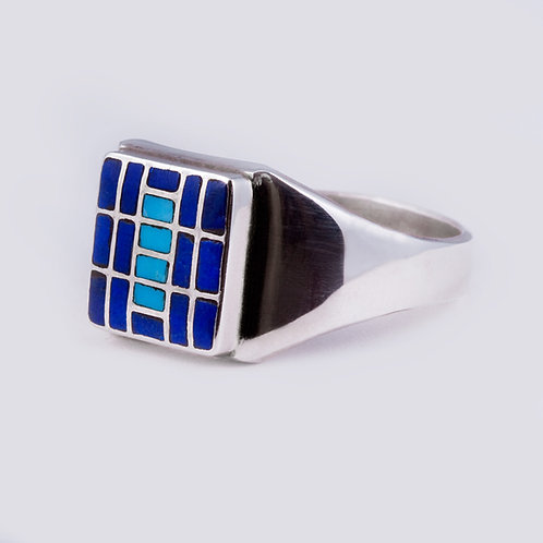 SS Zuni Lapis/Turquoise Inlay Ring RG-0387
