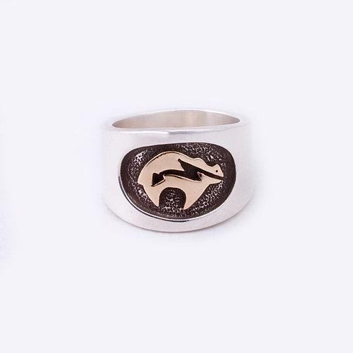 Sterling/14k Navajo Ring CC-0060