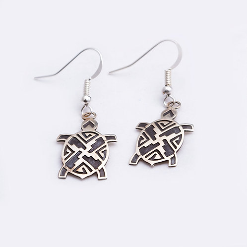 STERLING NAVAJO TURTLE EARRINGS ER-0288