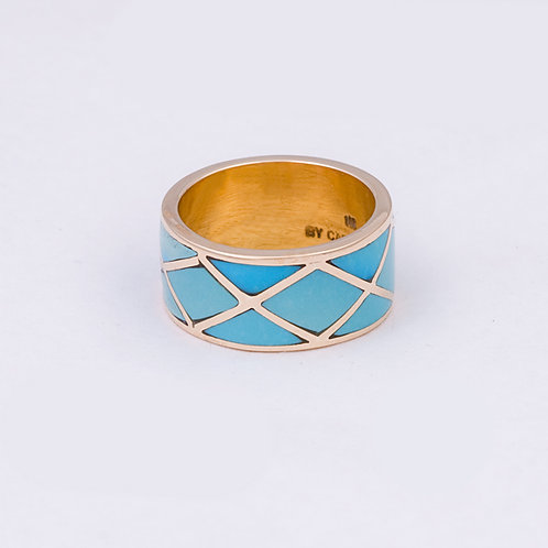 Carlos Diaz 14k Turquoise Inlay Ring