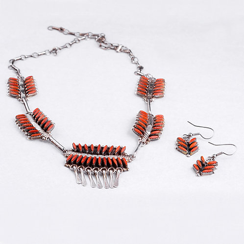 Zuni Coral Necklace & Earring Set NK0037