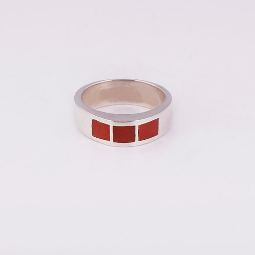 Sterling Silver Coral Inlay Ring RG-0168