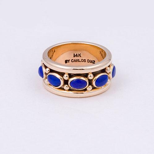 14k Carlos Diaz Lapis Navajo Style Ring GD-0077