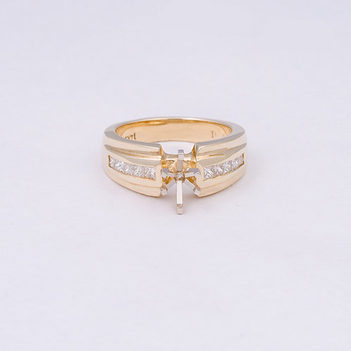 14k ring with Diamonds and a 6 prong setting