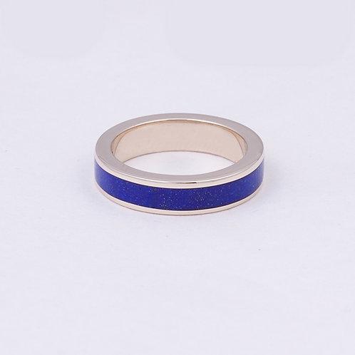 CD 14k White Gold Lapis Inlay Ring GD-0061