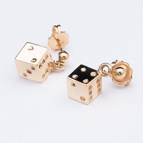 14KT Yellow Gold Dangle Dice Earrings GD-0277