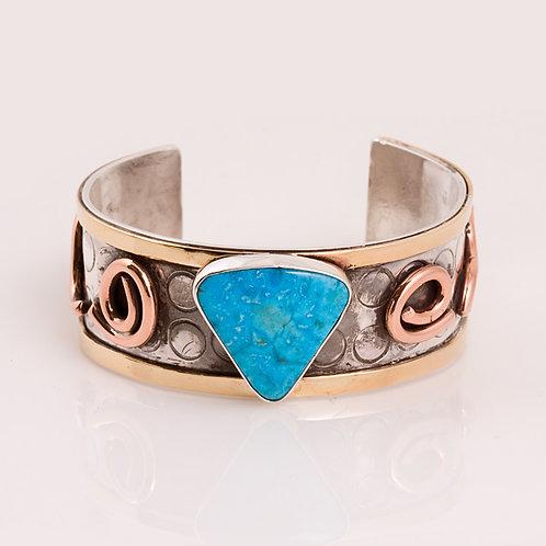 Sterling Copper Turquoise Bracelet CD-0215