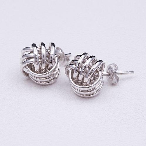 14KT White Gold Knot Earrings GD-0280