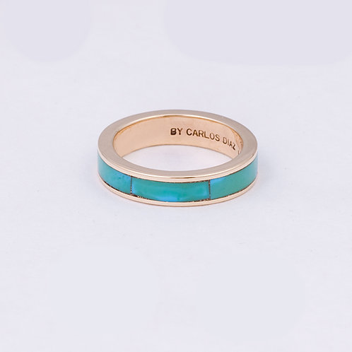 CD 14k Turquoise Charm Circle Ring GD-0059