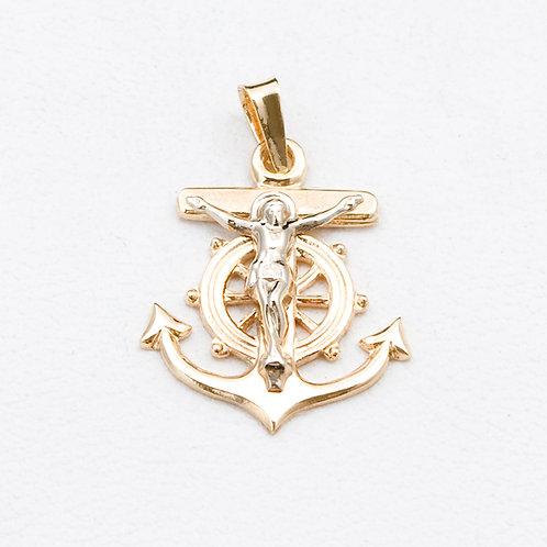 14KT Yellow Gold Cross Anchor Pendant GD-0313