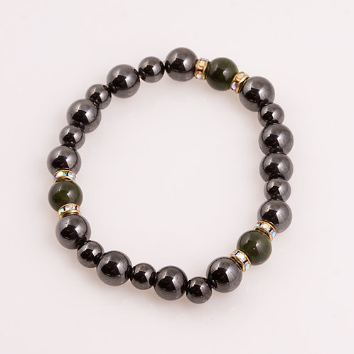 Hematite and Jade Bracelet CC-0204