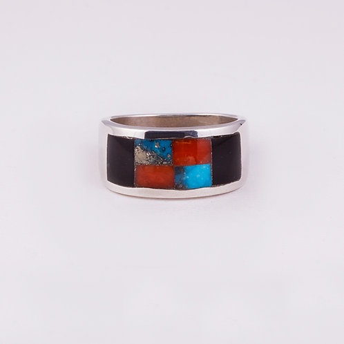 Sterling Silver Carlos Diaz Inlay Ring RG-0163