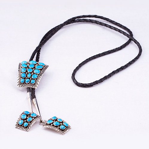 Sterling Silver Navajo Turquoise Bola Tie