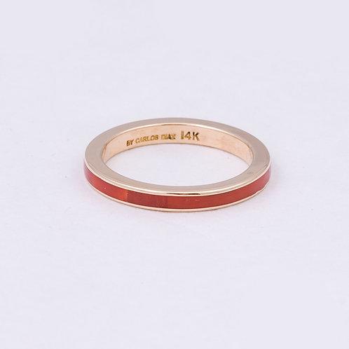 Carlos Diaz 14k Coral Charm Circle Ring GD-0060