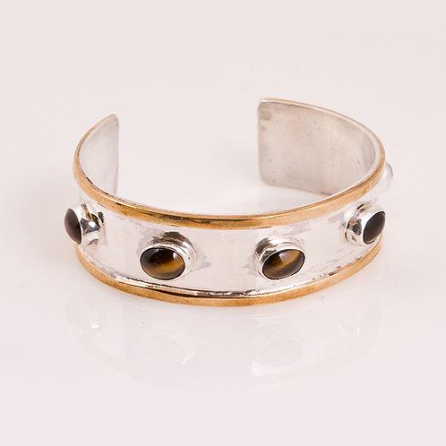 CD Sterling, Brass and Tiger Eye Bracelet
