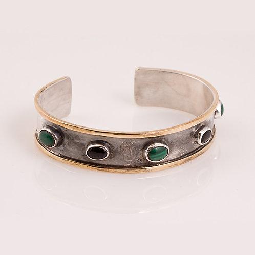 Sterling, Brass, Malachite, Onyx Bracelet CD-0217