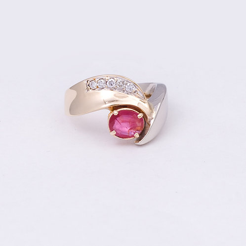 14k Two toned Diamond and Ruby ring