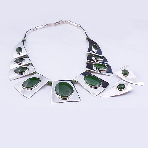 Sterling CD Jade Necklace and E/R set NK-0062