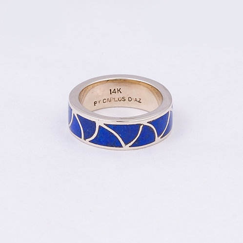 CD 14k White Gold Lapis Inlay Ring GD-0064