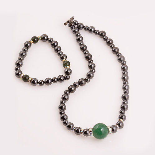 Hematite and Jade Necklace con# 519176 CC-0203