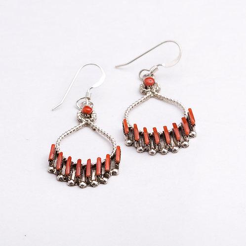 Zuni Sterling Coral Earring ER-0311