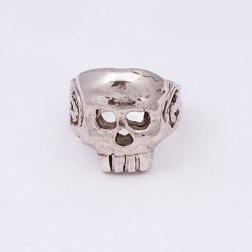 14k Carlos Diaz White Gold Skull Ring GD-0076