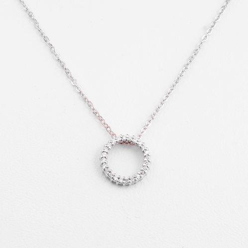 14KT White Gold and Diamond Circle Pendant GD-0199