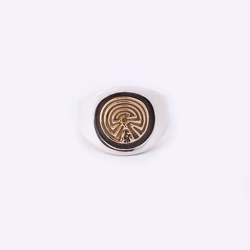Sterling/14k Man in the Maze Ring CC-0066