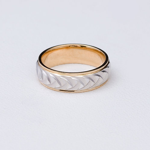 14KT Two Tone White and Yellow Gold Band GD-0380