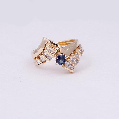 14k Sapphire and Diamond Ring GD-0137