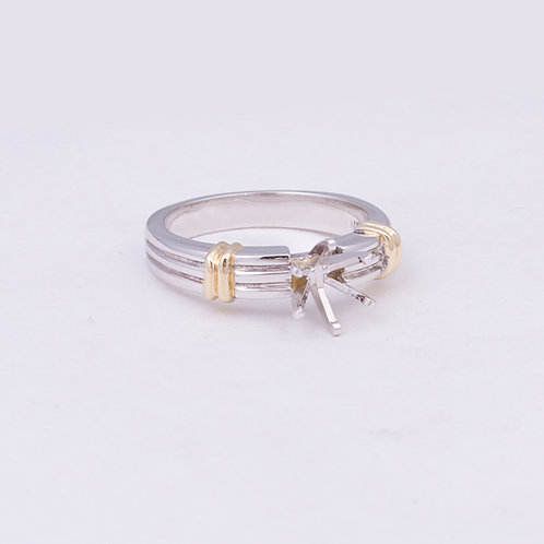 14k Two toned ring with open prong setting