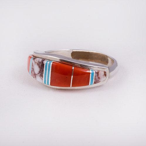 Sterling Silver Inlay zuni ring RG-0381