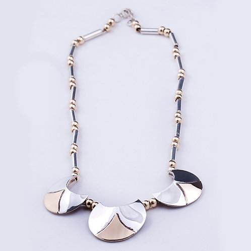 "Sterling/14K Crescent moon necklace 17"""