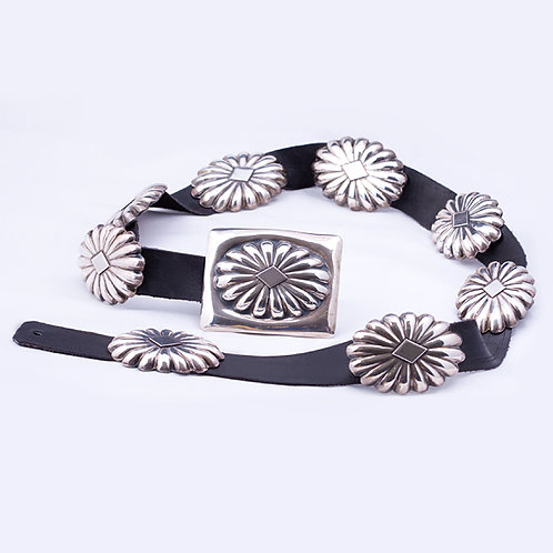"Sterling Silver 37"" Concho Belt"