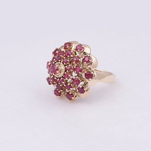 Consignment 14k Ruby Cluster Ring