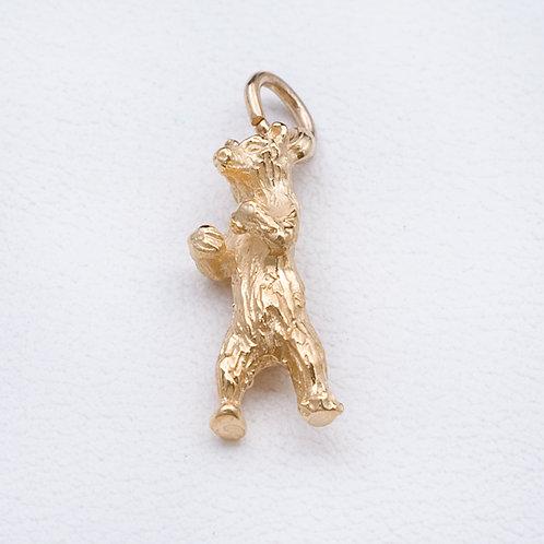 14KT Gold Standing Bear Charm GD-0345