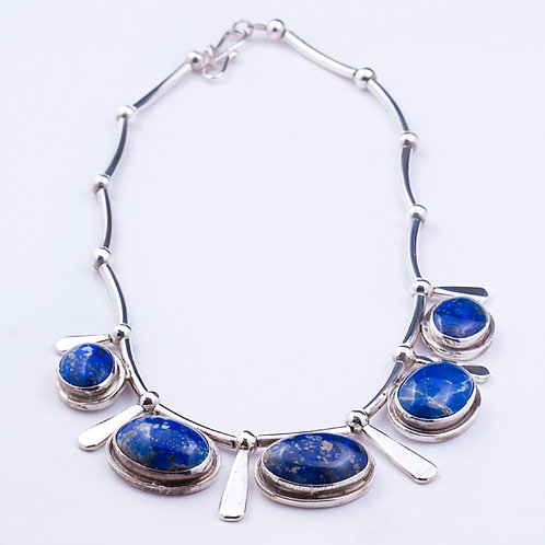 Sterling CD Lapis Necklace 17""