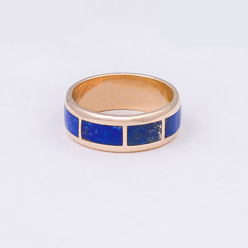 14k CD Lapis Inlay Charm Circle Ring GD-0071