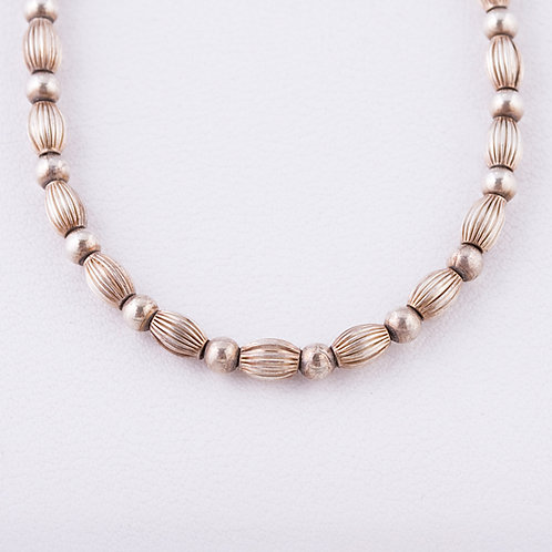 Sterling Silver Bead Necklace NK-0007