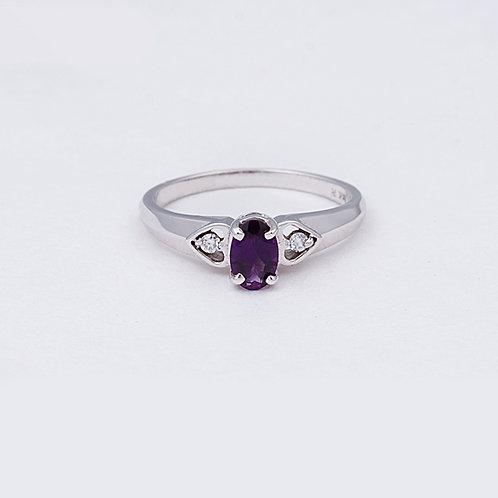 14k White Gold Amethyst/Diamond Ring GD-0126