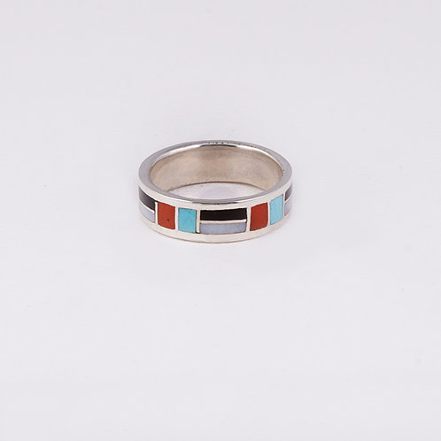 Sterling Silver Carlos Diaz Inlay Ring RG-0191