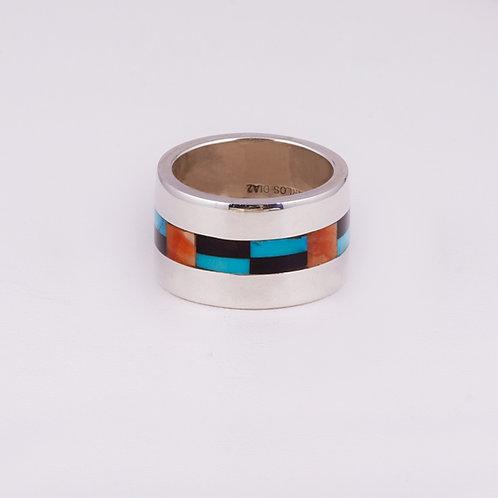 Sterling Carlos Diaz Multi Inlay Ring RG-0171