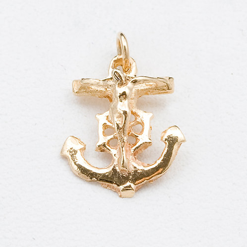 14KT Yellow Gold Cross Anchor Pendant GD-0314