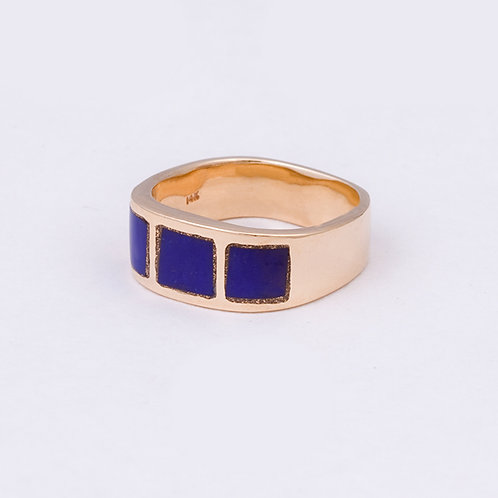 14k Carlos Diaz Lapis Inlay Ring GD-0072