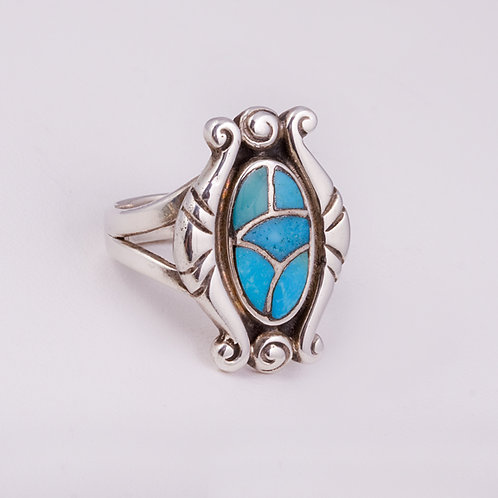 Sterling Silver Carlos Diaz Turquoise Ring RG-0173